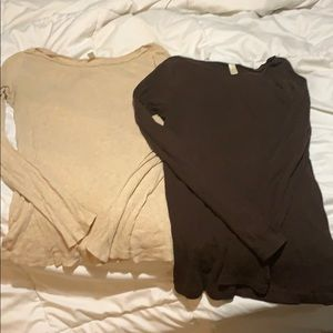 Two size Large JCrew ballet neck long sleeve tees